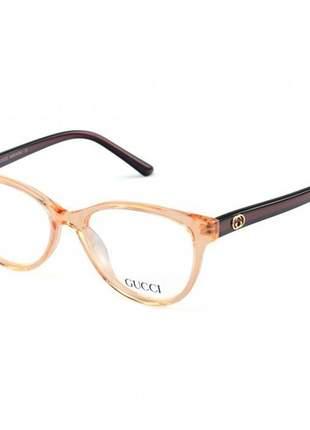 Armacao de óculos oval gucci gg 7210 - marrom tartaruga