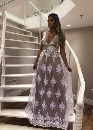 Vestido noiva casamento civil longo em renda guipir doce maria