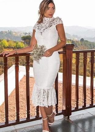 Vestido de noiva midi em renda, para casamento civil, cerimônia religiosa