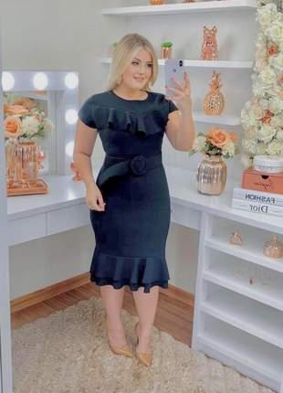 Vestido moda cristã evangélica tubinho preto com cinto babado na barra fashion