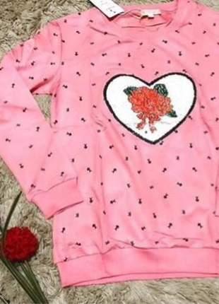 Blusa de frio feminina casaco estampa mágica rosa moda inverno meia estação fashion