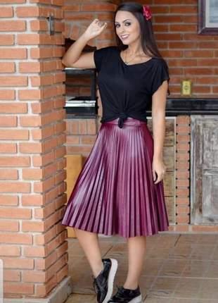 Saia midi plissada cirrê soltinha moda cristã evangelica social elegante