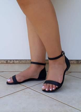 Sandália feminina rasteirinha preta fosca flat rasteira