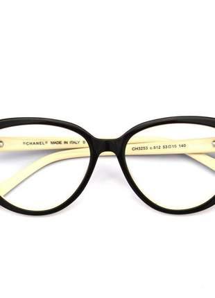 Oculos armação de grau chanel gatinho x3253 - marrom e creme
