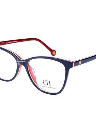 Óculos armação de grau - carolina herrera ch683 - azul e vermelho