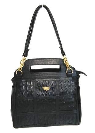 983fae6d5 Bolsa de mão com alça de ombro couro legítimo d'elpis - ref 8058 preta