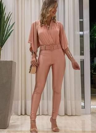 Calça com cinto social rosa chocomel skinny cirre power