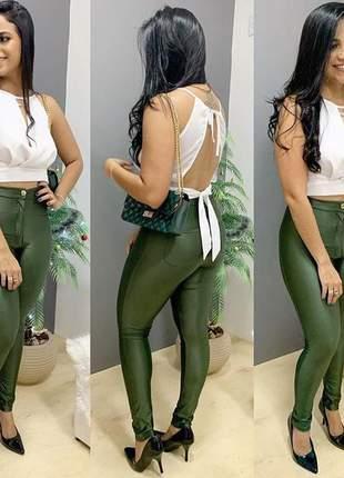 Calça disco hot pants verde militar manuella