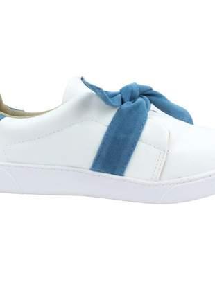 Tênis feminino branco menina de marte laço azul