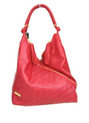 Bolsa saco de ombro couro legítimo d'elpis - ref 8086 vermelho