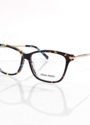 Óculos armação de grau - miu miu - vmu06p azul tartaruga e marrom