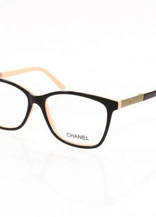 Óculos armação de grau - chanel marrom e creme ch3356