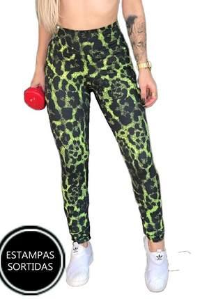 6 calça leg cós alto legging feminina crossfit coloridas sortidas