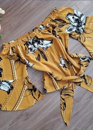 Blusa ciganinha mostarda de manga