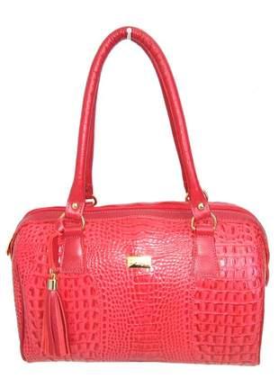 Bolsa de ombro com barbicacho couro legítimod'elpis - ref 8121 vermelho