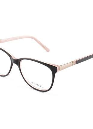 Armação de óculos oval chanel ch3365 preto e rosa