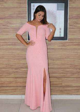 Vestido de festa longo modelo luxo rosê em malha crepe texturizada casamento madrinhas