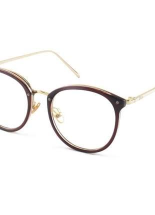 Armacao de óculos redonda feminina dior 2334 cd marrom translucido