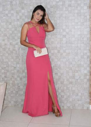 Vestido rosa chiclete social moda festa fenda bojo madrinha casamento formatura
