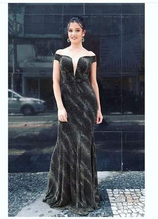 Vestido preto luxo noite de festa blogueira brilho bojo ombro formatura