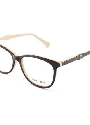 Armacao de óculos feminina pierre cardin p8406 marrom e creme