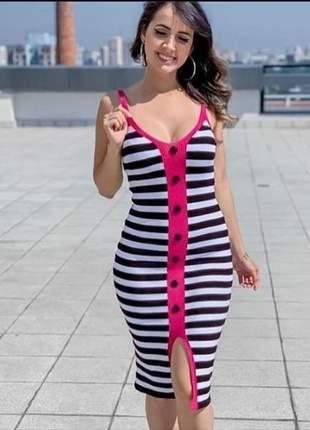 Vestido listra botão midi alça fenda detalhe rosa
