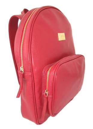 Mochila pequena feminina couro legítimo d'elpis - ref 8127 vermelho