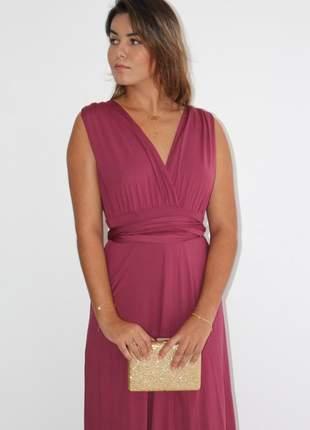 Vestido multiformas amarrar festa marsala rosê longo