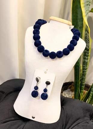 Conjunto colar e brinco veludo azul marinho