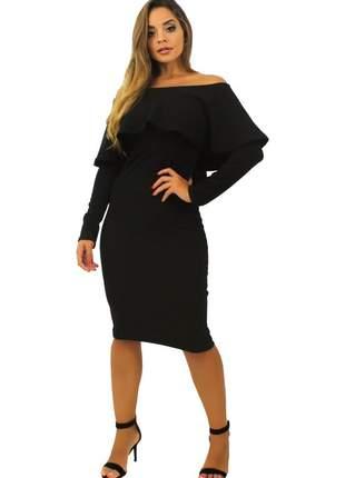 Vestido feminino midi fenda atrás babado e manga longa