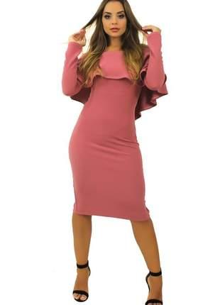 Vestido feminino midi babado fenda atrás e manga longa