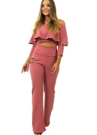 Conjunto feminino cropped babado e calça flare