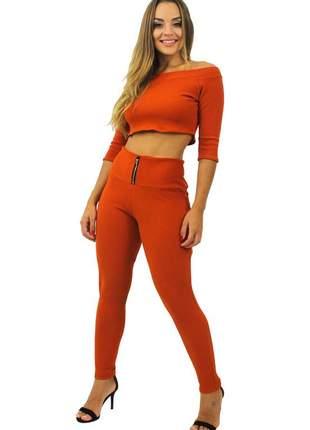 Conjunto feminino cropped e calça cintura alta