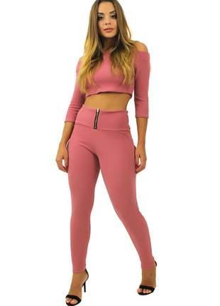 Conjunto feminino cropped e calça cintura alta rosê