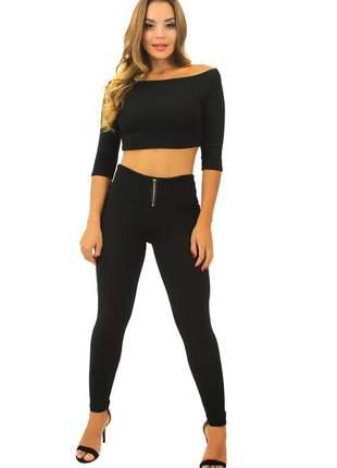 Conjunto cropped feminino e calça preto