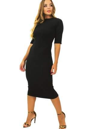 Vestido feminino midi tubinho fenda atrás