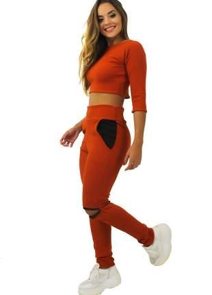 Conjunto feminino manga 3/4 gola calça com bolso terracota
