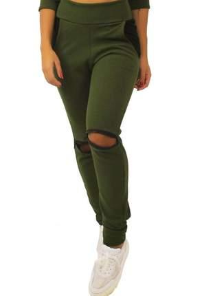 Calça feminina detalhe ziper joelho e bolso verde