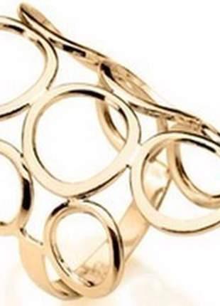 Rommanel anel circulos vazados fol ouro 18k
