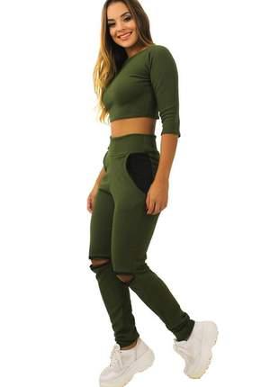 Conjunto feminino manga 3/4 gola calça com bolso verde
