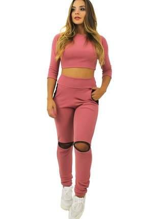 Conjunto feminino manga 3/4 gola calça com bolso rosê