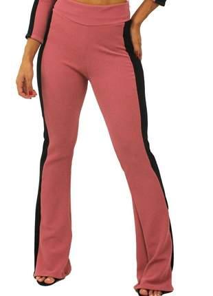 Calça feminina cintura alta detalhe lateral