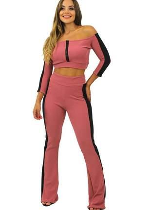 Conjunto calça feminina cintura alta e cropped manga longa ombro a ombro