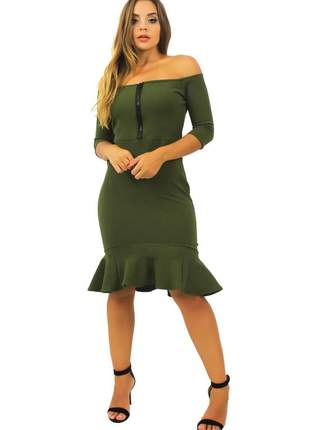 Vestido feminino midi ombro a ombro ziper peplum