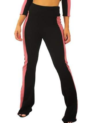 Calça feminina detalhe lateral cintura alta