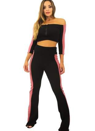 Conjunto feminino calça cintura alta e cropped ombro a ombro manga longa