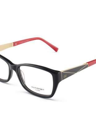 Armacao de óculos quadrada ana hickmann ah6228 preta e vermelha