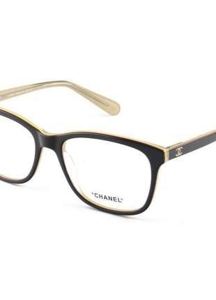 Armação de óculos quadrada chanel ch3341 marrom e creme