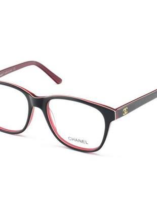 Armacao de óculos quadrada chanel ch0082 preto e vermelho