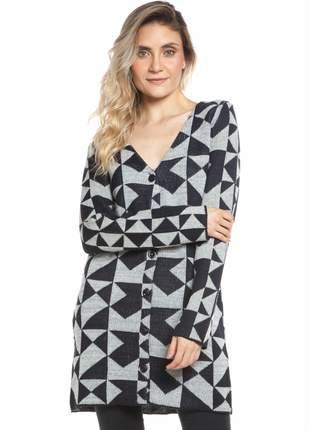 Casaco ralm tricot geométrico - preto